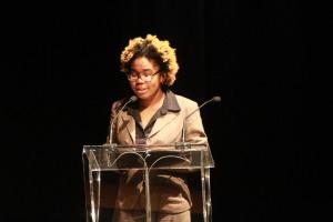 Johana Gourdin, Dulaney High School junior, presenting her poem during the 2013 BCPS Teacher of the Year ceremony.
