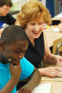 Anne Cross, BCPS Teacher of the Year, enjoying a moment in the classroom