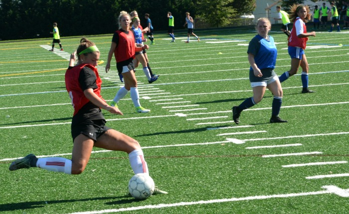 Sparrows Point girls soccer pictured practicing Aug. 9.