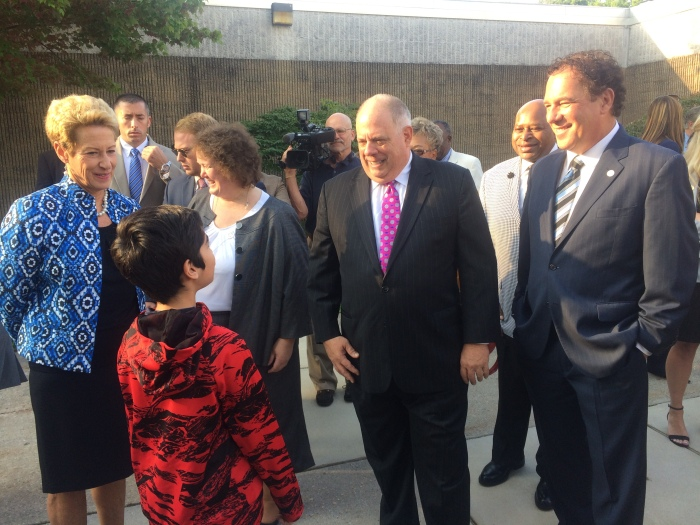 Photo of Jonathan, a Woodbridge Elementary student, meeting Gov. Larry Hogan, County Executive Kevin Kamenetz, and State Superintendent Dr. Karen Salmon.