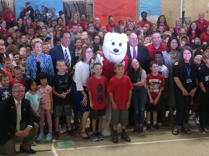 Photo of the first-day pep rally at Arbutus Elementary