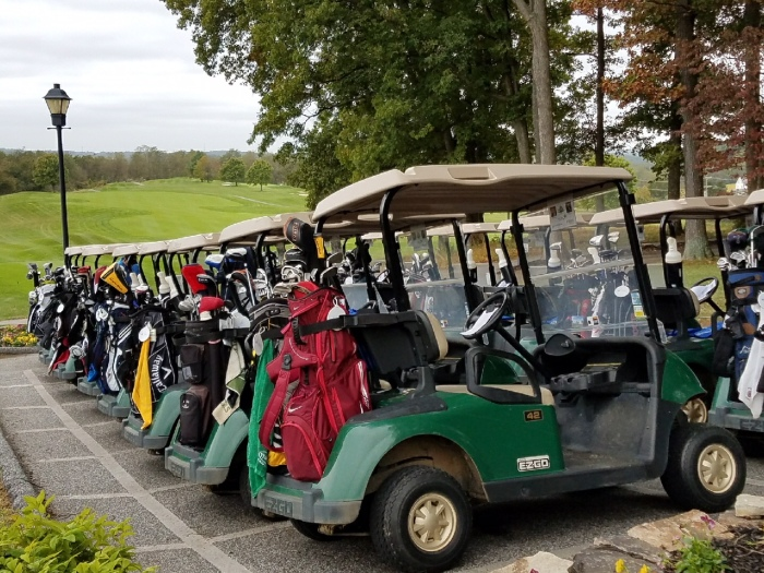 Golf carts were packed with clubs and ready for the Tee Off for TEAM BCPS event at Greystone Golf Course.