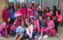 Towson High students wearing blue and pink for cancer awareness