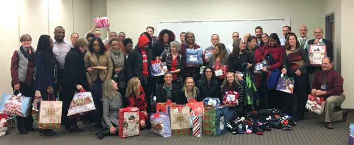 Stevenson University students with gifts
