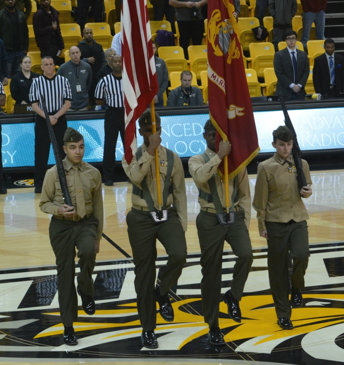 Franklin High JROTC presents the colors at Towson University