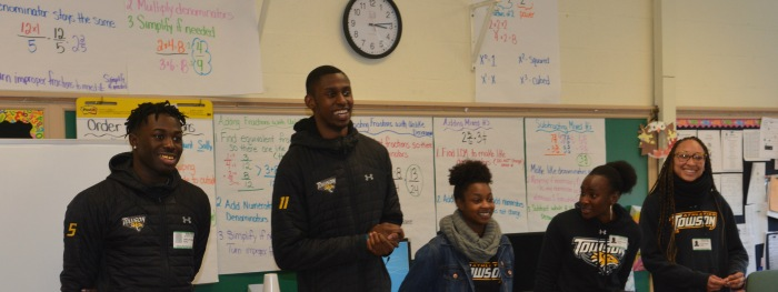 Towson University student athletes at Perry Hall Elementary