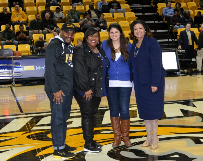Teacher and Principals of the Year recognized on court at Towson University